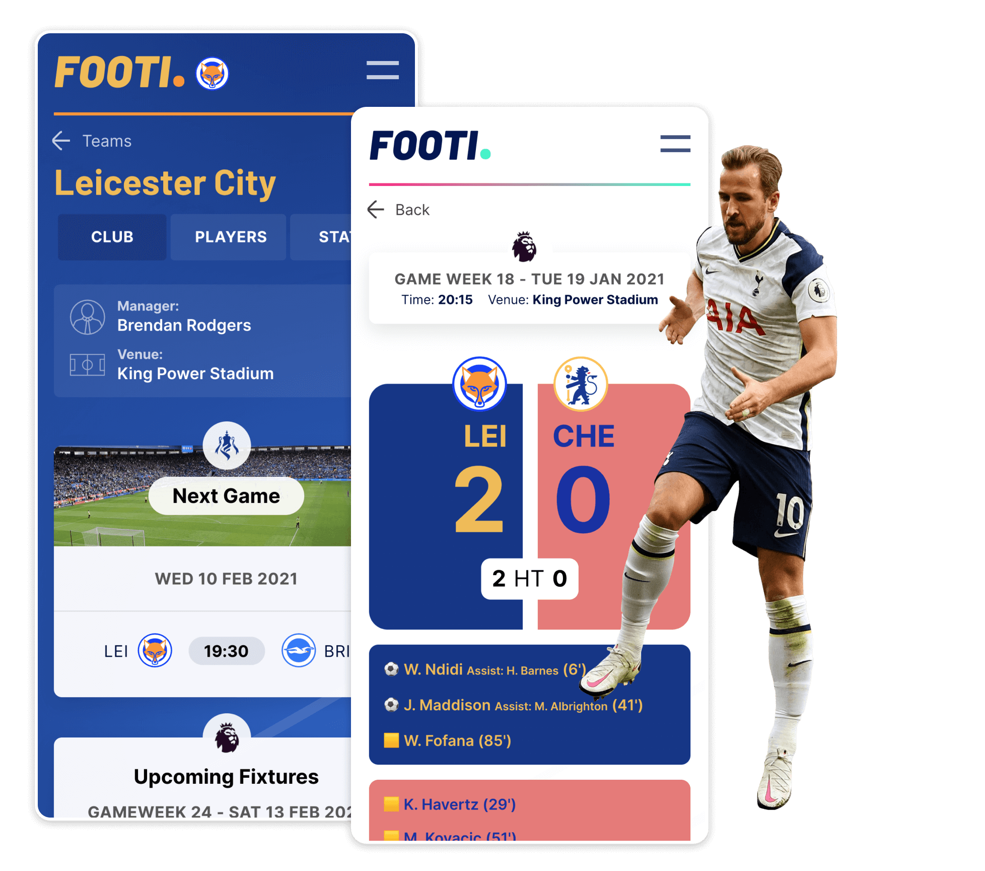 Case study image of a football player, and mobile UI designs.